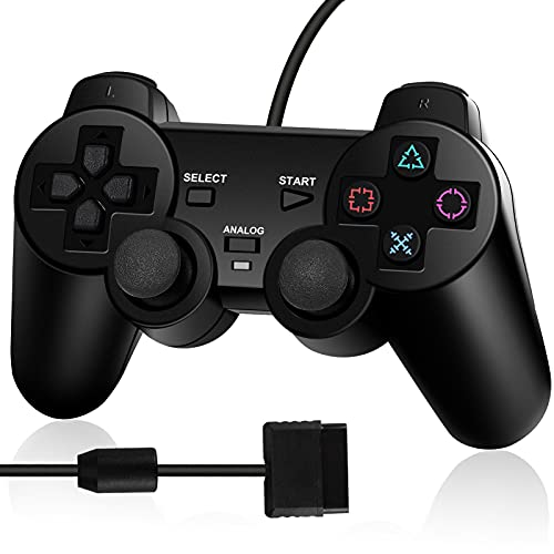 PS2 Controller Wired, Replacement for Sony Playstation 2 Controller, with Dual Vibration (Black)