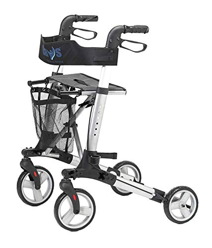 Days Deluxe Lightweight Folding Four Wheel Rollator, Rollator, Easy Storage and Travel, Carry Bag, Mobility Aids, Adjustable Seat Height 55 cm