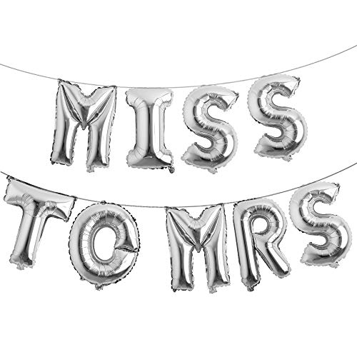 16 inch Multicolor Miss to MRS Balloons Banner Foil Letters Mylar Balloons for Bachelorette Party, Wedding, Bridal Shower Cannot Float (Silver)