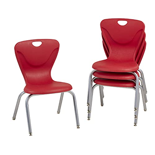 Factory Direct Partners 16' Contour School Stacking Student Chair, Ergonomic Molded Seat Shell with Powder Coated Silver Frame and Swivel Leg Glides; for in-Home Learning or Classroom - Red (4-Pack)