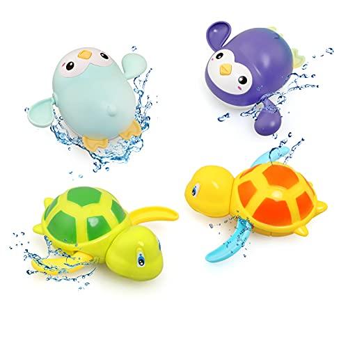 BelleStyle Giochi da Bagno per Bambini Giocattoli, 4PCS Bambini Giocattoli da Bagno Galleggianti, Tartaruga, Pinguino Splashing Floats Il Bagno Giocattoli per 1 2 3 4 5 Anni
