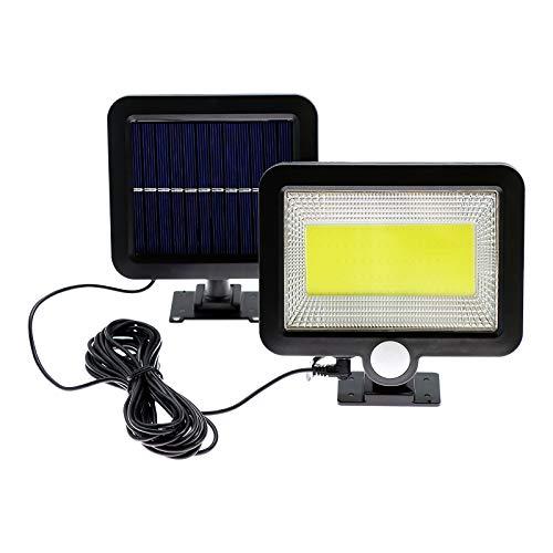 Solarlampen für Außen,100 LED IP65 Wasserdichte mit Bewegungsmelder Strahler Außen ,120° Beleuchtungswinkel Aussenleuchte mit 16.5ft Kabel 3 Modi LED Solarleuchte für Garten Außen