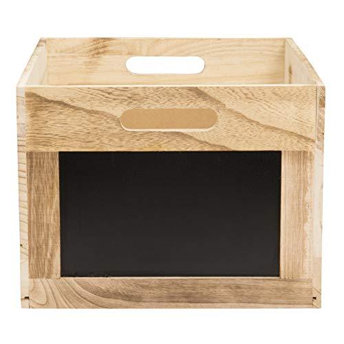 Securit Holzbox / Tablecaddy mit Kreidetafelflächen, ca. 21 x 35 x 28,3 cm groß, aus Paulownia Holz, zum leichten Selbstaufbau, zur Aufbewahrung und Dekoration