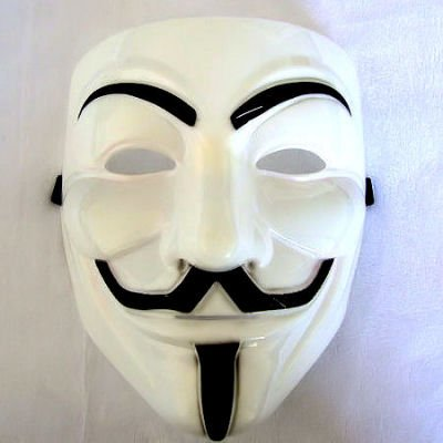 V wie VENDETTA Maske, weiss Anonymous Replika, Anti Demo Vendetta Maske