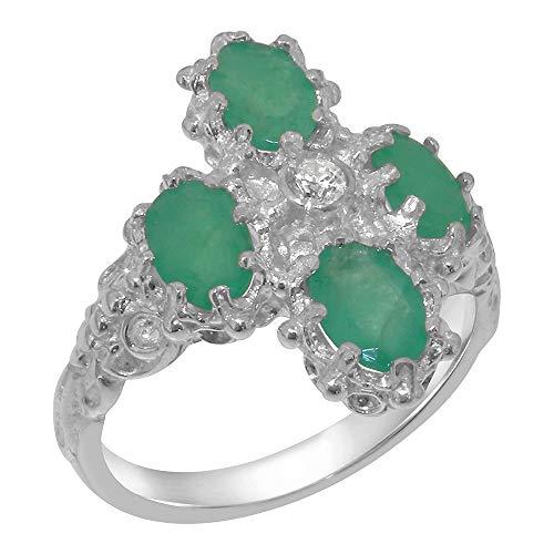 LetsBuyGold Bague Haute Qualité pour Femme en Or Blanc 375/1000 (9 carats) sertie de Diamant et Emeraude - Taille 59 (18.8) - Tailles 47 à 68 Disponibles