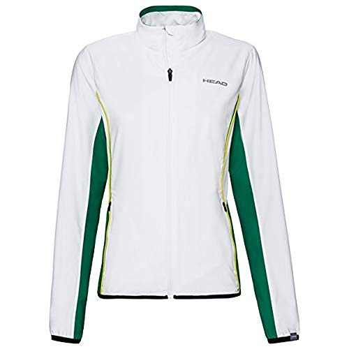 HEAD Damen Club Jacket W Tracksuits, White/Green, 3XL