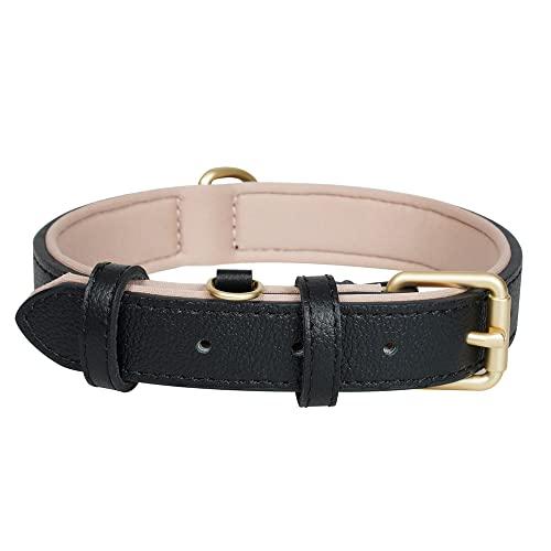 Ohmywor - Collar clásico de piel auténtica para perro, suave, transpirable, impermeable, con hebilla acolchada y resistente, medianos y grandes, color negro 2.5 cm x 55 cm