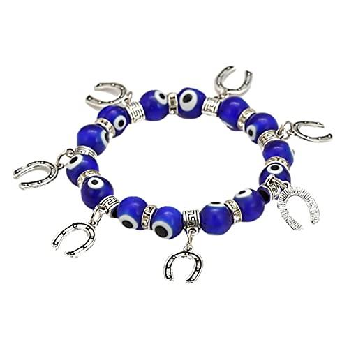 Zhihui Pulsera de perlas, pulsera elástica azul, cadena con ojos de herradura, amuleto de piedras preciosas artificiales, decoración para hombres y mujeres, regalo para fiestas de cumpleaños, 4 tipos