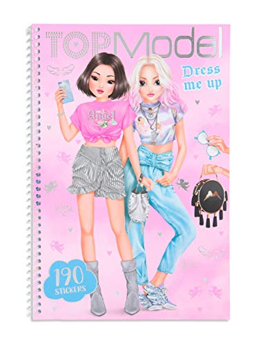 Depesche TopModel Dress me up 11444 - Libro para colorear con pegatinas, 24 páginas, 5 hojas de pegatinas de papel y 2 hojas de pegatinas, aprox. 26,2 x 17,6 x 1,5 cm