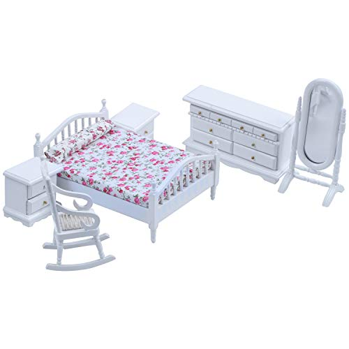 VORA 1: 12 Puppenhaus Miniatur Weiss Holz Schlafzimmer Moebel Bett Kommode Spiegel