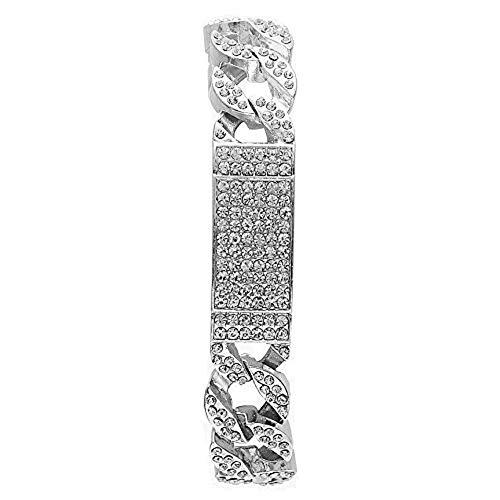 Mens Womens CZ Miami Cuban Link Hip Hop Iced Out Curb Cuban Bracelet with Clear Rhinestones (Silver ID Bracelet)