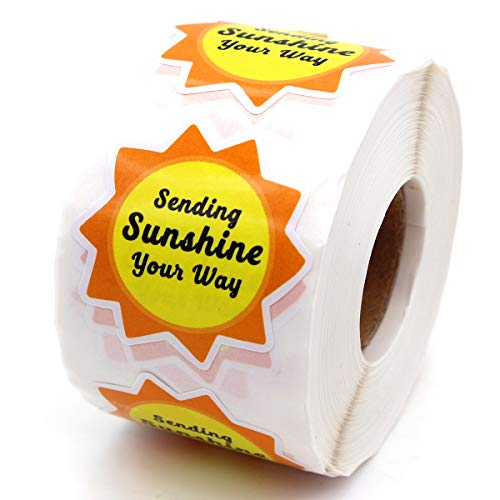 Muminglong 1.5 Inch Sending Sunshine Your Way Stickers, Small Shop Stickers, Thank You Sticker,Small Business, Packaging Sticker, 500 PCS
