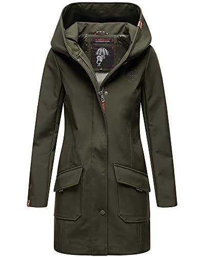 Damen Mantel Softshell Regen Jacke Parka MAYLEEN (Olivgrün, L)