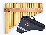 Flauto di pan in bambù con 20 tubi in C-Dur con design con cinghia in legno in set con custodia, fatto a mano da Plaschke Instruments dal Sud Tirolo / Italia