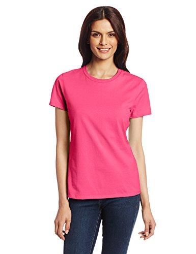 Hanes Women's Nano Premium Cotton tee, Wow Pink, Medium