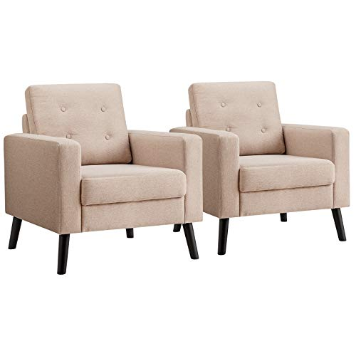 Giantex Set of 2 Modern Accent Chair, Mid-Century Upholstered Armchair Club Chair with Rubber Wood Legs, Linen Fabric Single Sofa for Living Room Bedroom Office (2, Beige)