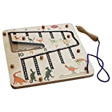 Wooden educational learning toy to learn number quantity association for 3 year old and 4 year old children set includes a wooden maze with steel balls in them the board is provided with a magnetic pen which is used to drag the balls into the slots a...
