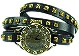 Wickel-Armbanduhr echt Leder mit Nieten schwarz 4TIME