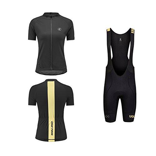 Uglyfrog Pantalones Cortos de Ciclismo de Secado rápido y Transpirable para Mujeres + Pantalones Cortos + Jerseys Acolchados con cojín 3D Set de Jersey de Bicicleta DTWX01F