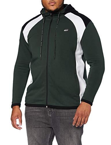 Jack & Jones JCONOLAN Sweat Zip Hood PS Sudadera con Capucha, Verde Oscuro, 4XL/6XL para Hombre
