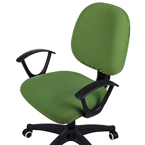 smiry Office Computer Chair Covers, Stretch Jacquard Universal Desk Rotating Chair Slipcovers Protector, Seat Cover + Backrest Cover, Olive Green