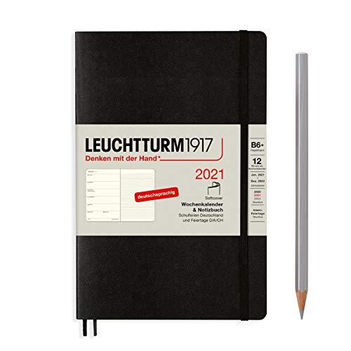 LEUCHTTURM1917 Wochenkalender & Notizbuch 2021 Softcover Paperback (B6), 12 Monate, Schwarz, Deutsch