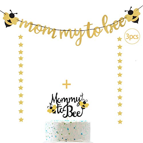 Decoración para tarta de momia a abeja y guirnalda de estrellas brillantes para anuncios de embarazada, revelación de género, decoración de fiesta