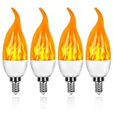 Bombilla de luz de fuego LED con efecto de llama, 3 W, 3 modos, luces de decoración navideña de fuego parpadeante, base E12 Ac85-265v, luces de llama parpadeante de bajo consumo energético para uso en