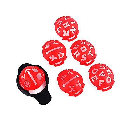 Marcador de línea de pelota de golf, 6 piezas, 6 en 1, patrón de letras, trazador de líneas de pelota de golf, plantilla de cajón, herramienta de alineación de dibujo, herramienta de alineación