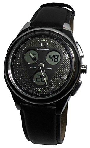 Tchibo Chronograph Armbanduhr Uhr Zifferblatt mit beleuchtbarer LCD-Anzeige