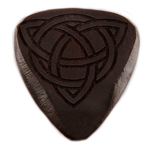 Black Wooden Guitar Pick with Celtic Knot Design