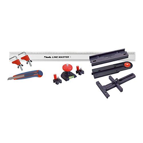 KWB 49783908 Juego de regla de regla de precisión, regla con guía de cuchilla, guía de sierra, tope de ángulo, nivel de burbuja y marcador de punto de perforación, 10 piezas