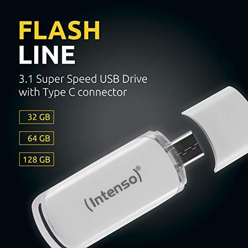 Intenso Flash Line 64 GB - Type C USB-Stick - Super Speed USB 3.1, weiß