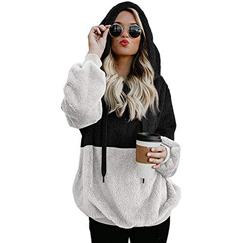 Sweatshirt Femme Pulls Amlaiworld Femmes Sweat à Capuche Manteau Hiver Laine Chaude Poches zippées Cotton Manteau Outwear Pull en Laine Polaire à Double Face Pullover Grand Taille