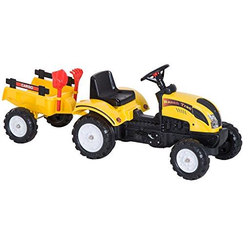 HOMCOM Tractor Pedal con Remolque para Niños 3-6 Años