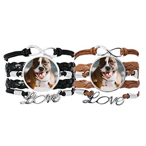 DIYthinker Bulldog Mascota Animal espantosa Imagen Pulsera Pareja de Cuerdas de Cuero