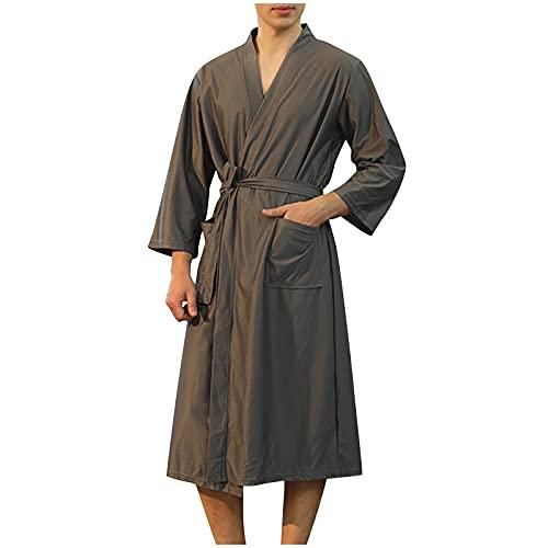BIBOKAOKE Albornoz para hombre y mujer, bata de 3/4, albornoz de noche, kimono, albornoz de sauna...