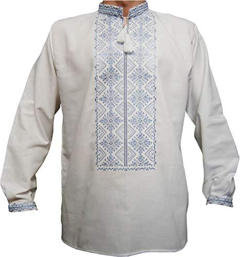 Emporium Herren Hemd, bestickt, mit langen Ärmeln -  Weiß -  Groß