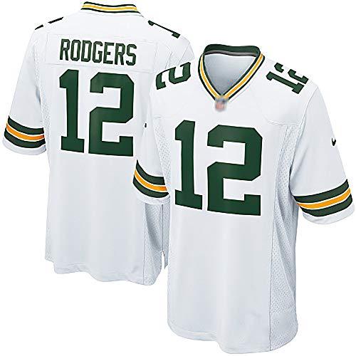 Rugby Trikot Packers 12 Rodgers, American Football Kostüm Sport Super Bowl Herren Damen Kinderanzug-White-Childrens