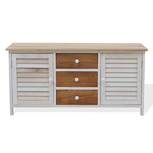 Rebecca mobiele entree, opbergdoos, wit, bruin, hout, country-stijl, 2 deuren 2 laden – afmetingen: 44 x 89,5 x 34 cm (h x b x l). RE4184.
