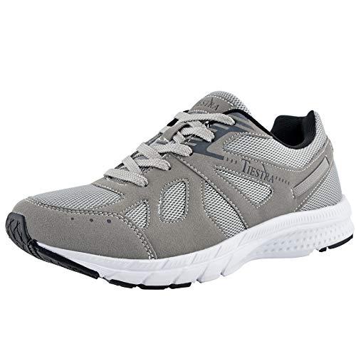 TIESTRA Zapatillas Running para Hombre Mujer Aire Libre y Deporte Transpirables Casual Zapatos Gimnasio Correr Sneakers, Zapatos para Correr y Deportes Calzado Ligero Transpirable, Gris EU41