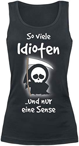Preisvergleich Produktbild So viele Idioten und nur eine Sense Frauen Top schwarz S 100% Baumwolle Fun-Merch,  Horror,  Sprüche