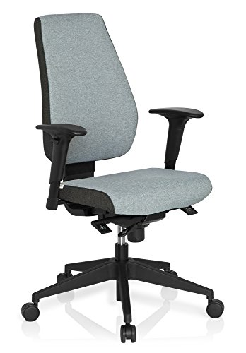 hjh OFFICE 608822 Profi Bürostuhl PRO-TEC 500 Stoff Hellgrau Drehstuhl ergonomisch, Rückenlehne & Armlehnen höhenverstellbar