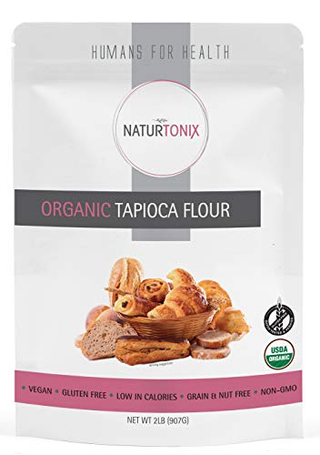 Organic Tapioca Flour Starch, Thickening Agent, 2 Pound Resealable Pouch, Batch tested Gluten Free, Non Gmo, Vegan and Kosher Certified