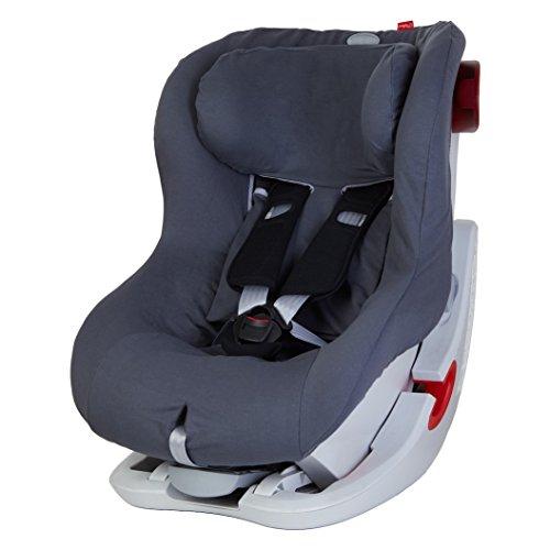 ByBoom - Sommerbezug Baumwolle für Kinder-Autositz, universal für z.B. Britax Römer KING II ATS, LS, KING PLUS, SAFEFIX PLUS/PLUS TT, Farbe:Grau