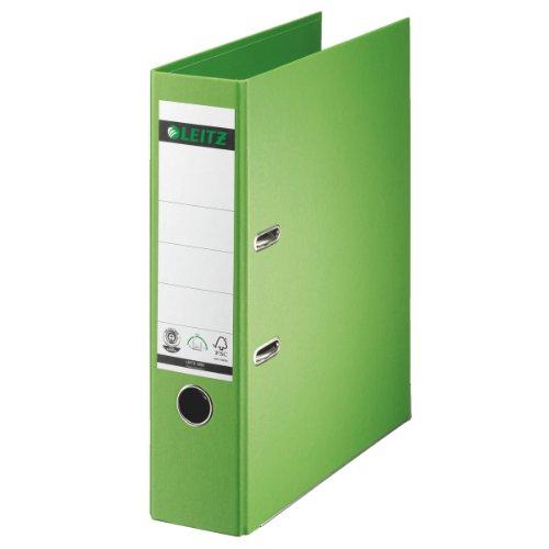 Leitz 10070050 Qualitäts-Ordner (Spezialpapierkaschierung in Leinenprägung, A4, 8 cm Rückenbreite) hellgrün