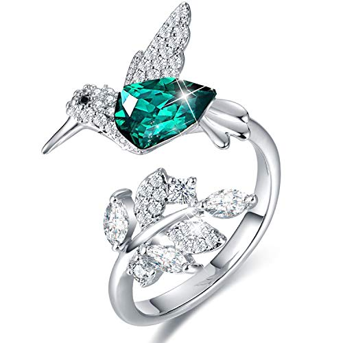 CDE Hummingbird Ring S925 Sterling Silver Rings for Women Embellished with Crystals from Swarovski Adjustable Rings Valentines Day Birthday Gifts for Wife Girlfriend Women (Hummingbird Ring A)
