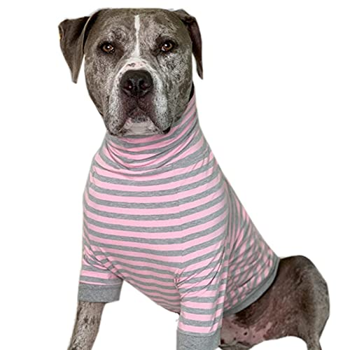 Tooth & Honey Big Dog/Stripe Shirt/Pullover/Full Belly Coverage/for Big Dogs/Pitbull Shirt/Pink and Grey