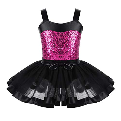 Freebily Tutú Vestido de Ballet Niñas 3-10 Años Maillots de Danza Leotardo Gimnasia Ropa de Lentejuelas Brillos para Actuación de Baile Niños Infánntil Black&Rose Red 5-6 Años