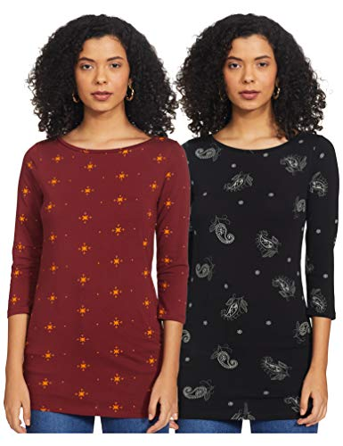 Amazon Brand - Myx Women's Slim T-Shirt (PAG 102_Black and Maroon L)